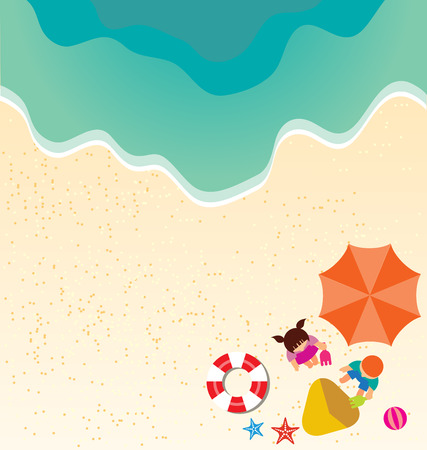 topical: Summer holiday background with boy and girl playing Sand in the beach Illustration