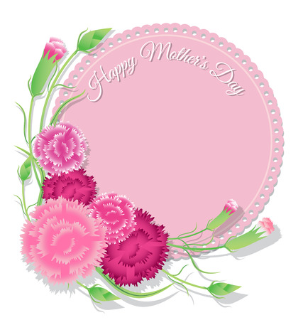 Carnation with pink paper background for Mothers Day card