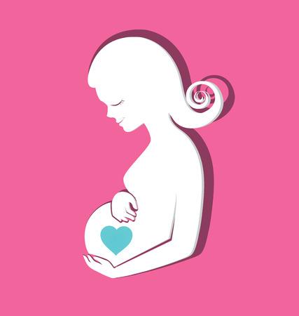 Zwangere vrouwen met een hart op de buik voor Moeders Day wenskaart