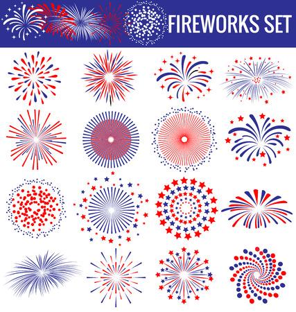 independencia: Conjunto de hermosos fuegos artificiales por un D�a de la Independencia EE.UU. Vectores