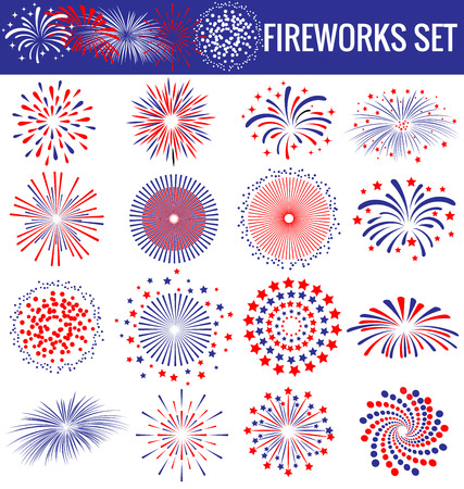 patriotic: Set of beautiful Fireworks for Independence Day USA