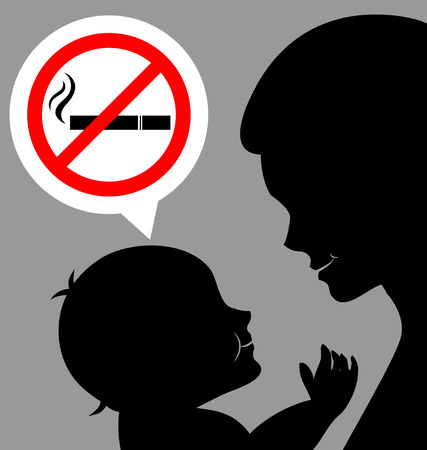 Mom and baby  with a prohibiting smoking sign for World No Tobacco Day Vector