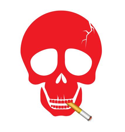 smoking a cigarette: A human skull smoking a cigarette for World No Tobacco Day