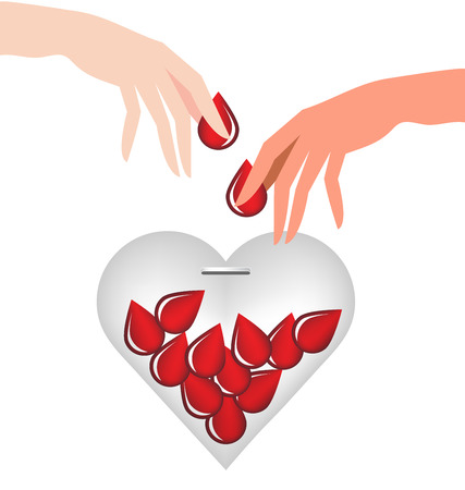 Hand donate blood drop put in heart glass for World Blood Donor Day