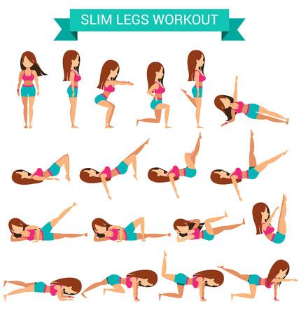 Set van cardio-oefening voor slanke benen workout vector