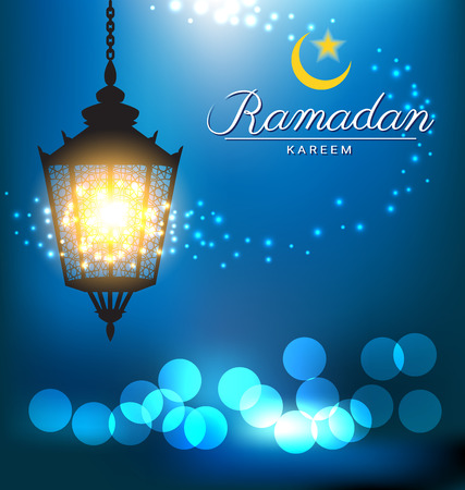 Beautiful bright lamp with bokeh for ramadan festival