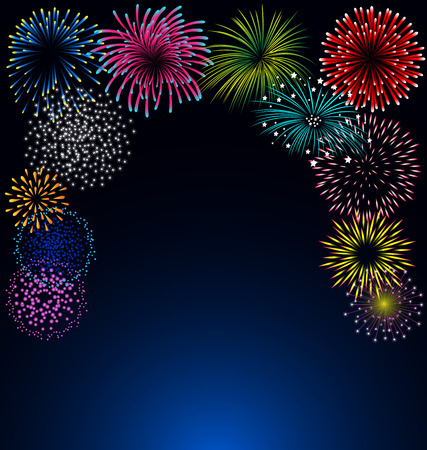 Colorful fireworks vector on blue background for celebration