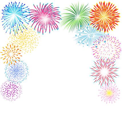 Vetor colorido de fogos de artifício no fundo branco para festa Ilustração
