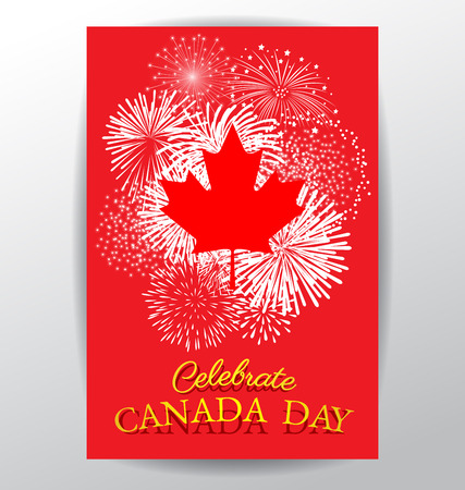 Maple leaf with firework poster for celebrate the national day of Canada Vettoriali