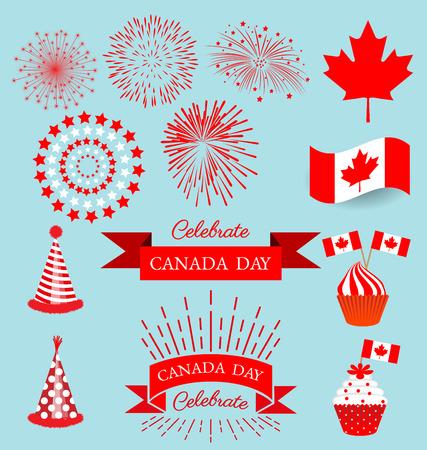 セット デザイン要素カナダの建国記念日を祝う  イラスト・ベクター素材