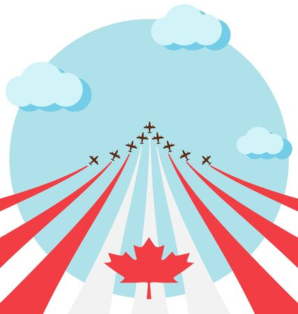 air show: Air show for celebrate the national day of Canada Illustration
