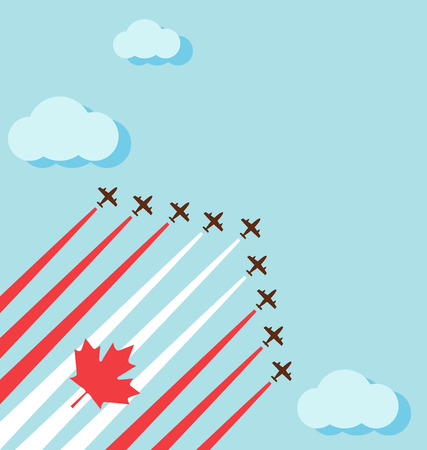 Air show on the sky for celebrate the national day of Canada Иллюстрация