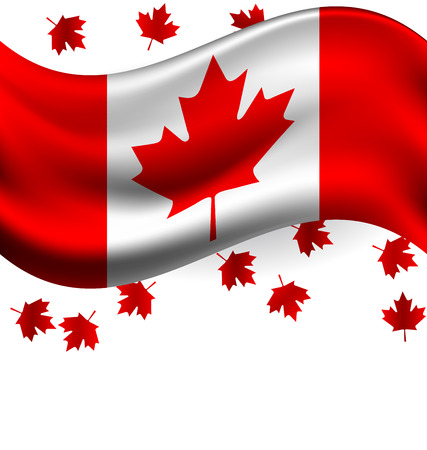 Canada flag with Maple flying for celebrate the national day of Canada