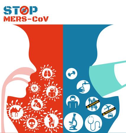 vomito: Icono del virus Mers y patógenos respiratorios de humano Vectores