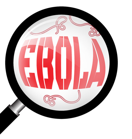 ebola: Magnifying glass with Ebola virus on white background Illustration