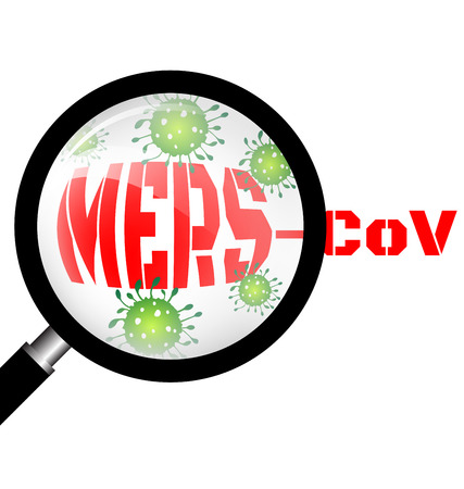 sars: Magnifying glass with Mers virus respiratory  pathogen