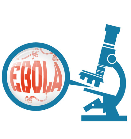 ebola: Microscope with Ebola virus vector Illustration