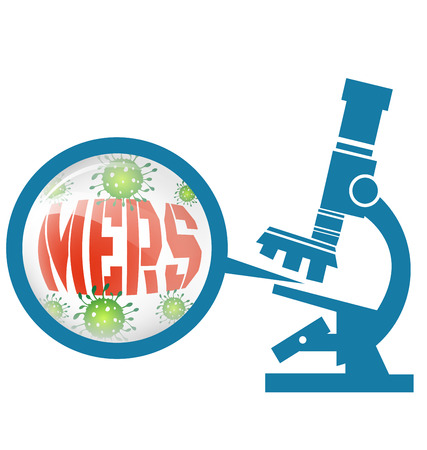 infection prevention: Microscope with Mers virus vector