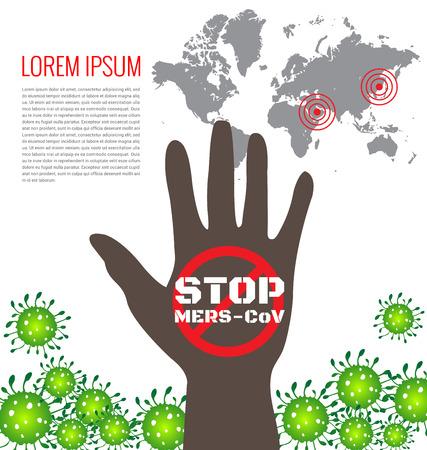 flu prevention: Poster for stop Mers virus concept
