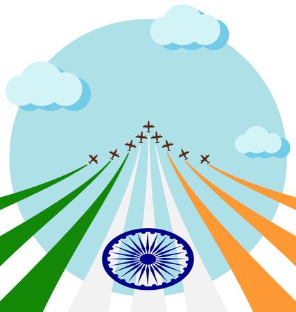 航空ショー: Air show on sky for celebrate the national day of India