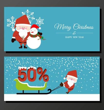 claus: Abstract Christmas banner with Santa Claus vector