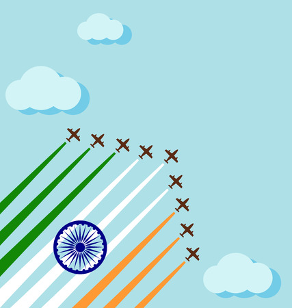 Air show on the sky for celebrate the national day of India Vectores