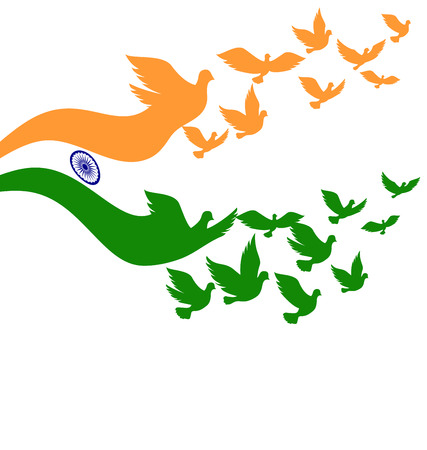august: Abstract India flag with flying pigeon vector Illustration