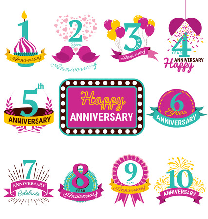 Flat Design Anniversary Emblems vector set