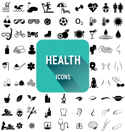beautiful nude woman: Set of health icons vector Illustration