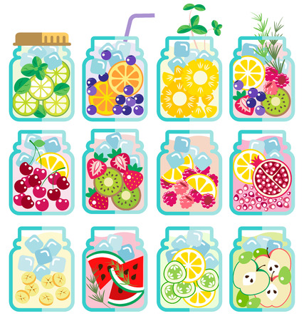 mixed fruit: Collection of Infused water with mixed fresh fruit