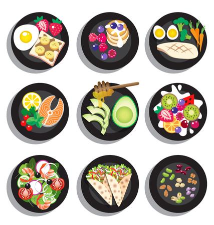 ensalada de frutas: Conjunto de delicioso menú de comida limpia vectorial