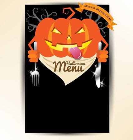 Scary pumpkin holding spoon and knives for halloween party menu