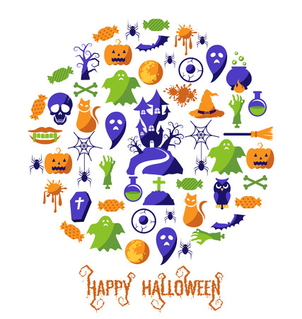 fruit candy: Set of Happy Halloween icons vector
