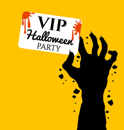 zombie hand: Zombie hand holding invite VIP card for halloween day Illustration