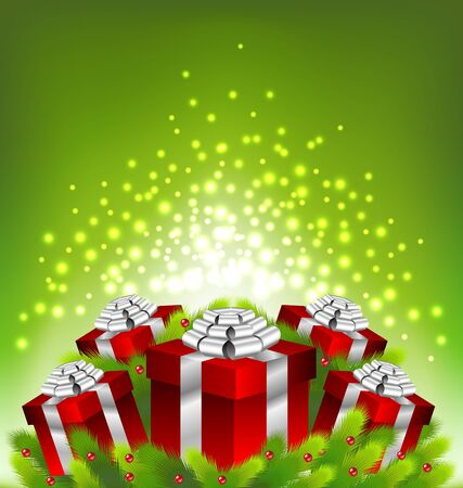 red gift box: Abstract light on red gift box for Christmas day Illustration
