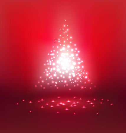 red christmas background: Abstract magic  Light on red background for Christmas day Illustration