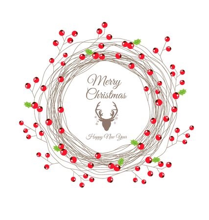 Red Berry Christmas Wreath for Happy new year card