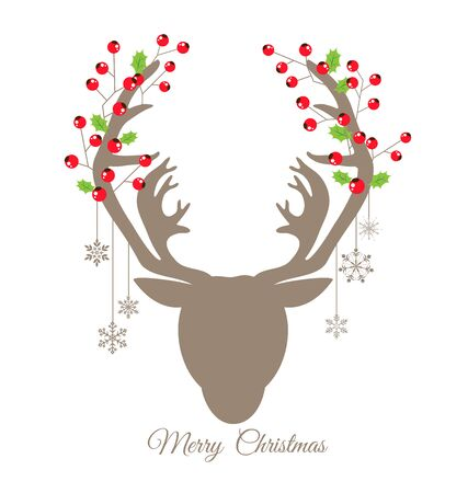 christmas day: Retro reindeer and Red Berry for Christmas day card