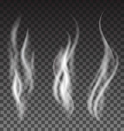 translucent: White smoke vector set on translucent background