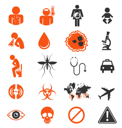infection: Icon set of Zika virus Infection from mosquito Illustration