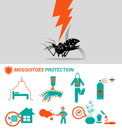 fever: Set of Mosquitoes protection malaria Dengue and zinka virus Illustration