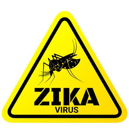 pandemic: Warning sign of Zika virus with Mosquito for protection