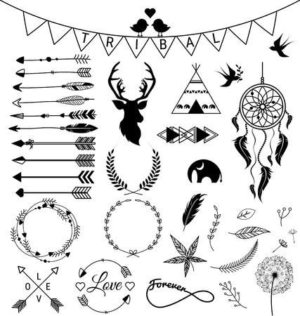 Set of hand drawn arrows Tribal designs