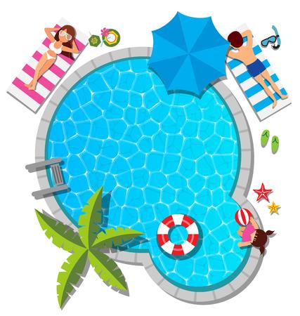 夏のコンセプトのスイミング プールでリラックスした若い家族