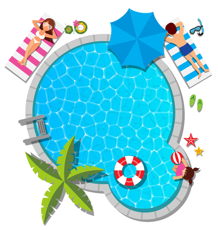 Young family relaxing at swimming pool for summer concept