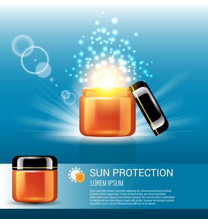 protection concept: Sun protection for skin care  with miracle light Illustration