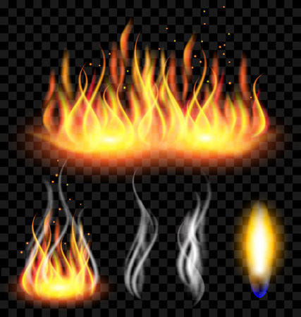 Set of Fire and smoke on translucent background Vector Illustration