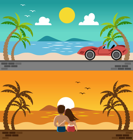 girl illustration: Romantic lover watching sunset and sport car in the beaultful beach
