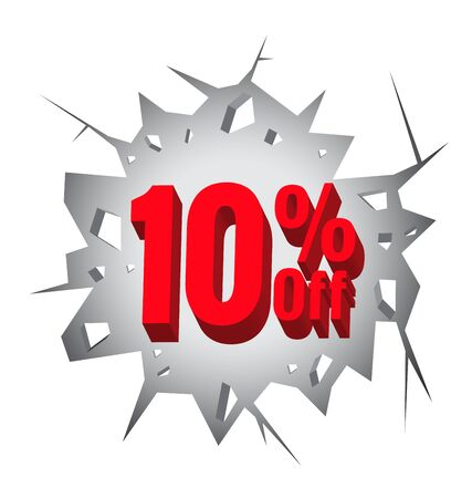 hole in wall: Sale 10% percent on Hole cracked white wall for promotion