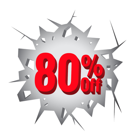 hole in wall: Sale 80% percent on Hole cracked white wall for promotion Illustration